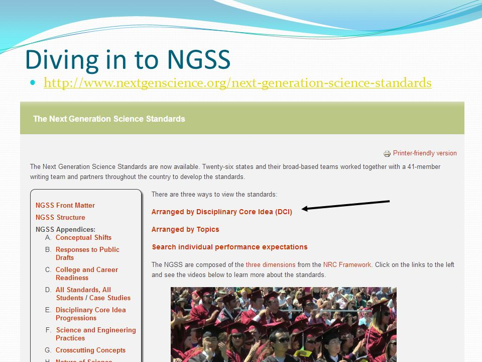 http://www.nextgenscience.org/next-generation-science-standards Diving in to NGSS