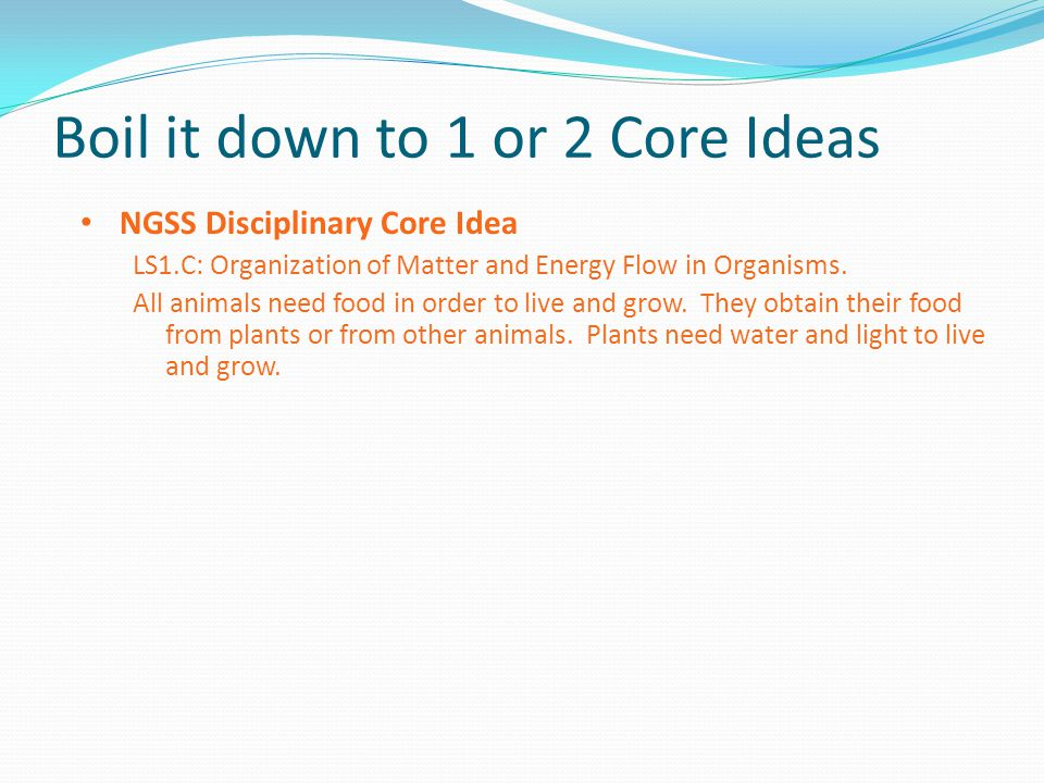Boil it down to 1 or 2 Core Ideas NGSS Disciplinary Core Idea LS1.C: Organization of Matter and Energy Flow in Organisms. All animals need food in ord