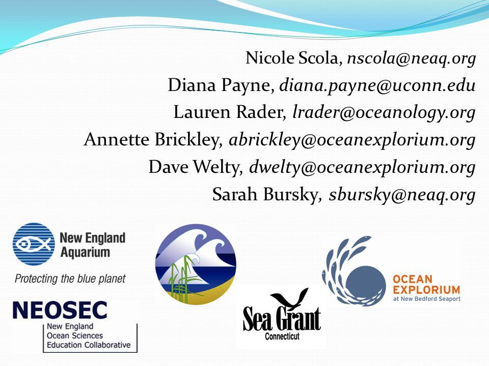 Nicole Scola, nscola@neaq.org Diana Payne, diana.payne@uconn.edu Lauren Rader, lrader@oceanology.org Annette Brickley, abrickley@oceanexplorium.org Da