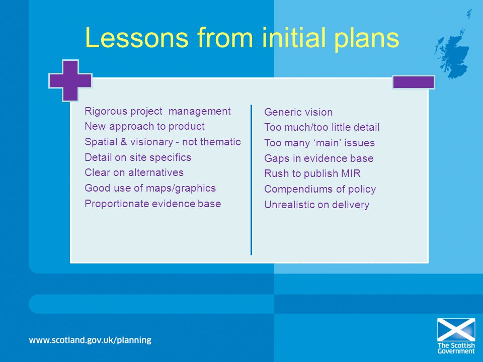 Lessons from initial plans Rigorous project management New approach to product Spatial & visionary - not thematic Detail on site specifics Clear on al