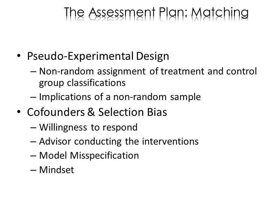 Pseudo-Experimental Design – Non-random assignment of treatment and control group classifications – Implications of a non-random sample Cofounders & S