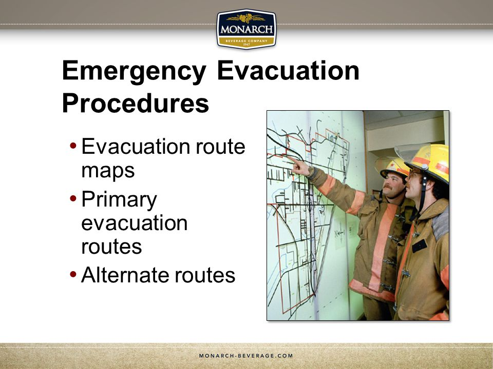 Emergency Evacuation Procedures Evacuation route maps Primary evacuation routes Alternate routes