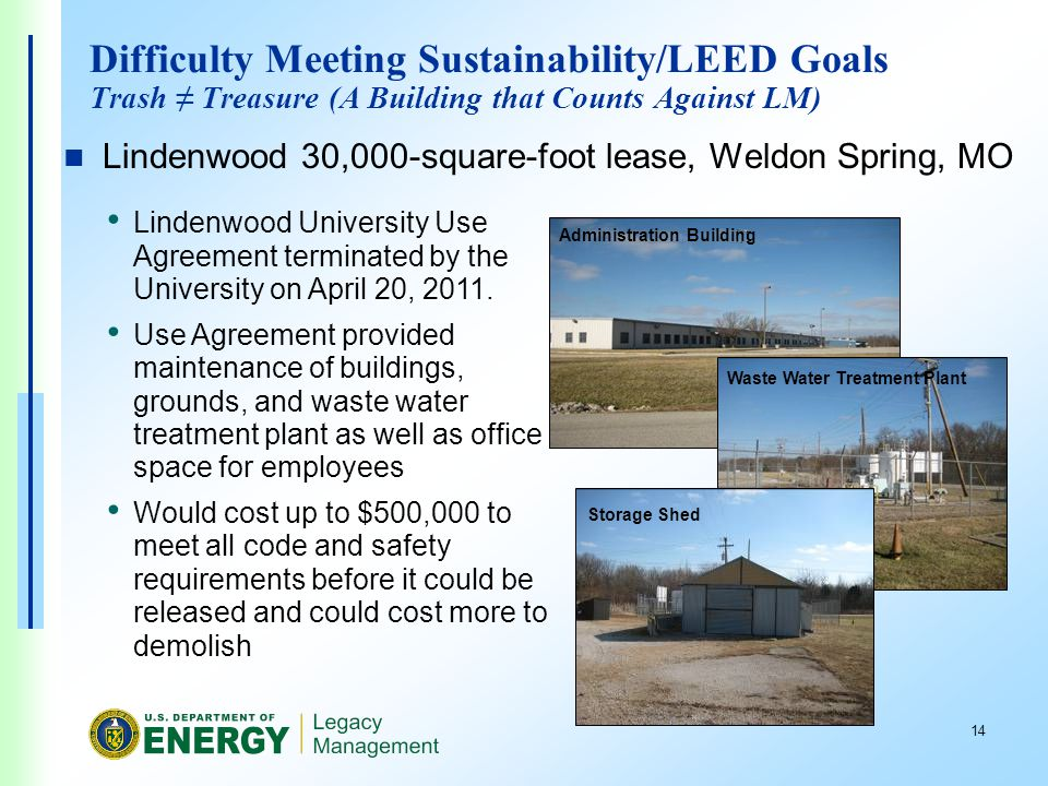 14 Difficulty Meeting Sustainability/LEED Goals Trash Treasure (A Building that Counts Against LM) Lindenwood 30,000-square-foot lease, Weldon Spring, MO Lindenwood University Use Agreement terminated by the University on April 20, 2011.