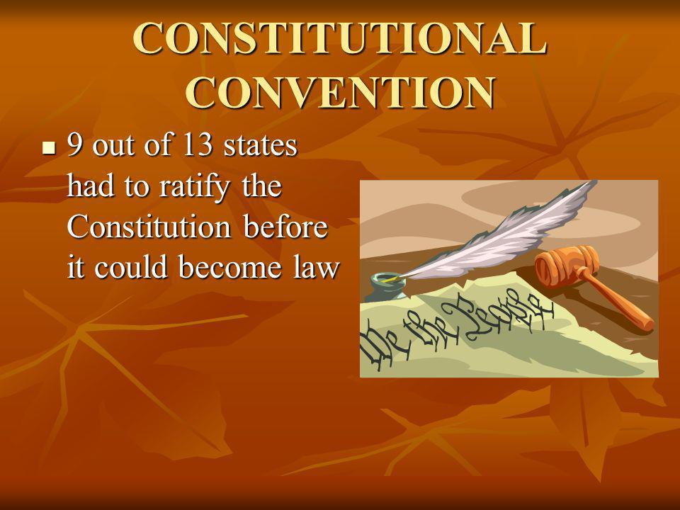 CONSTITUTIONAL CONVENTION 9 out of 13 states had to ratify the Constitution before it could become law 9 out of 13 states had to ratify the Constituti