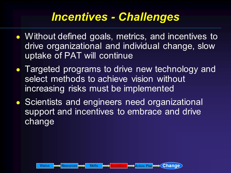Incentives - Challenges Without defined goals, metrics, and incentives to drive organizational and individual change, slow uptake of PAT will continue Targeted programs to drive new technology and select methods to achieve vision without increasing risks must be implemented Scientists and engineers need organizational support and incentives to embrace and drive change VisionResourcesSkillsIncentives Change Action Plan