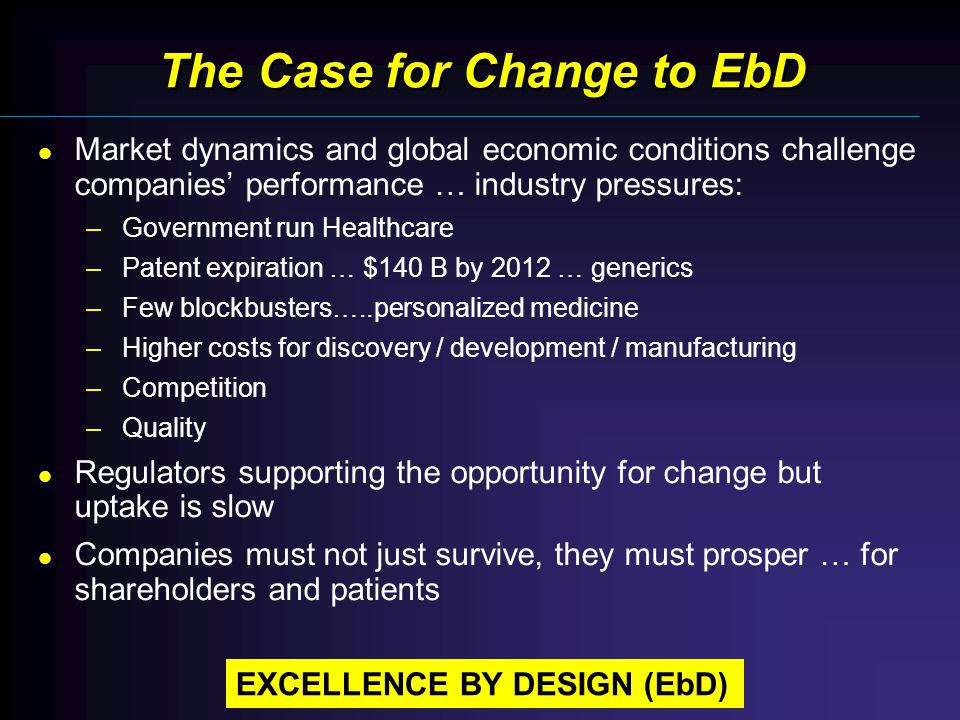 The Case for Change to EbD Market dynamics and global economic conditions challenge companies performance … industry pressures: –Government run Healthcare –Patent expiration … $140 B by 2012 … generics –Few blockbusters…..personalized medicine –Higher costs for discovery / development / manufacturing –Competition –Quality Regulators supporting the opportunity for change but uptake is slow Companies must not just survive, they must prosper … for shareholders and patients EXCELLENCE BY DESIGN (EbD)