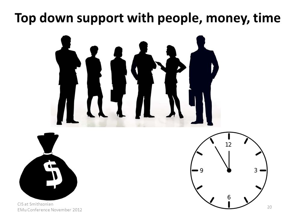 CIS at Smithsonian EMu Conference November 2012 20 Top down support with people, money, time