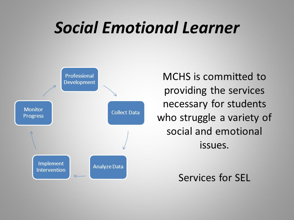 Social Emotional Learner MCHS is committed to providing the services necessary for students who struggle a variety of social and emotional issues. Ser