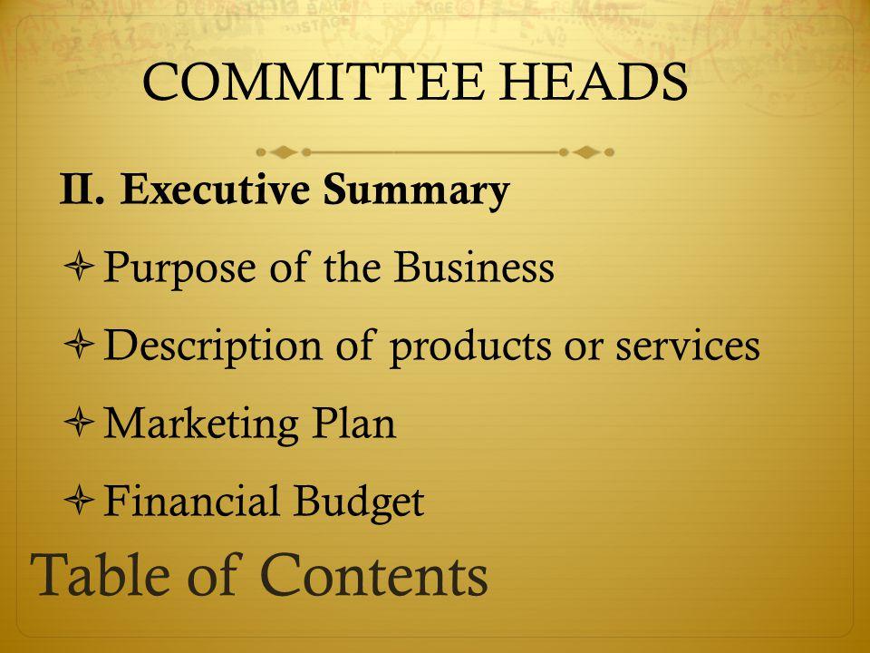 COMMITTEE HEADS II.