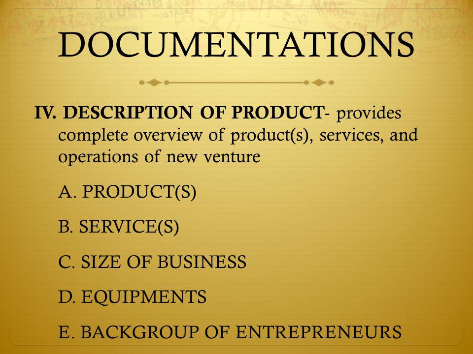 DOCUMENTATIONS IV.