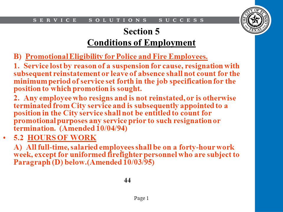 Page 1 Section 5 Conditions of Employment B) Promotional Eligibility for Police and Fire Employees. 1. Service lost by reason of a suspension for caus