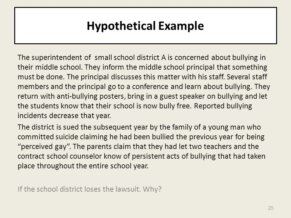 Hypothetical Example The superintendent of small school district A is concerned about bullying in their middle school. They inform the middle school p