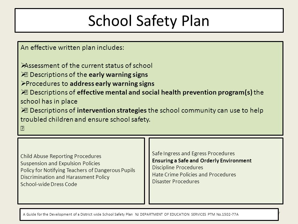 School Safety Plan 7 An effective written plan includes: Assessment of the current status of school • Descriptions of the early warning signs Procedur
