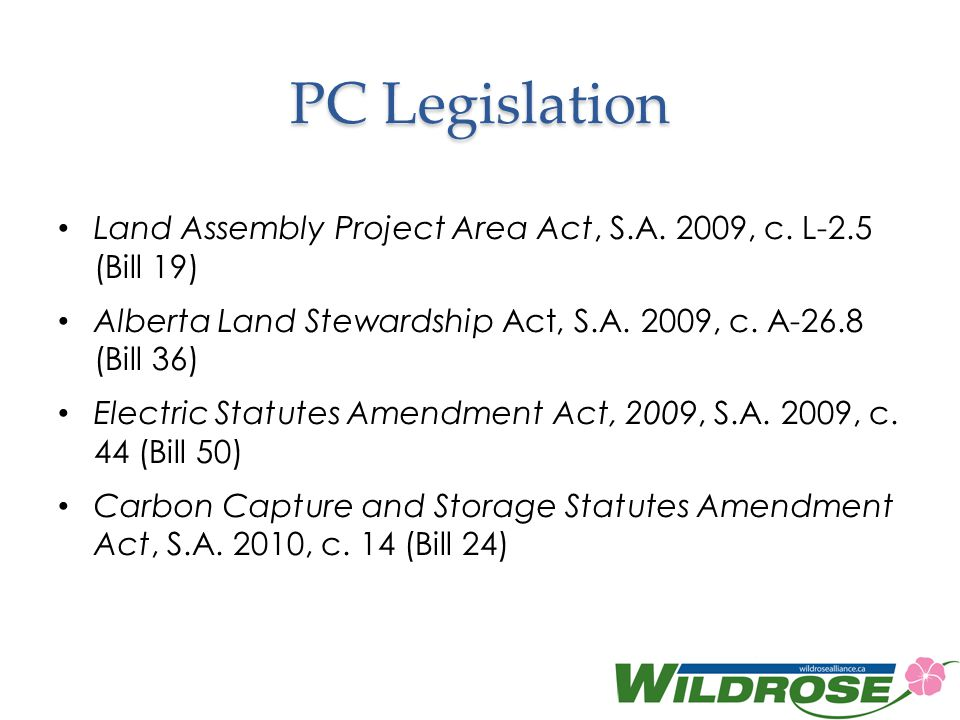 PC Legislation Land Assembly Project Area Act, S.A.