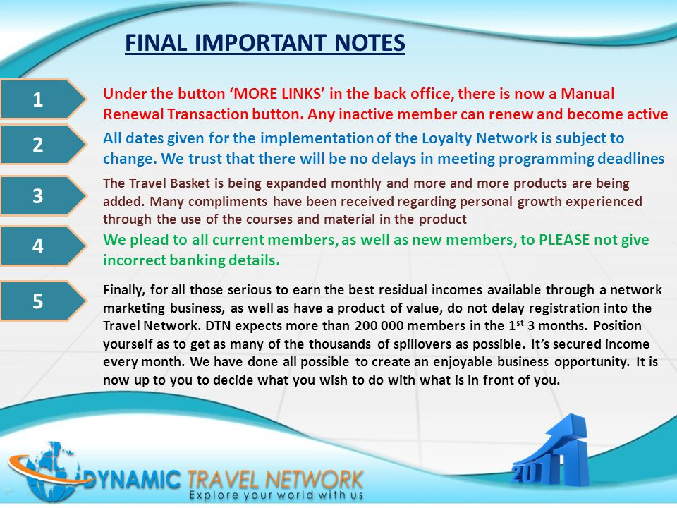FINAL IMPORTANT NOTES 1 2 3 4 Under the button MORE LINKS in the back office, there is now a Manual Renewal Transaction button. Any inactive member ca
