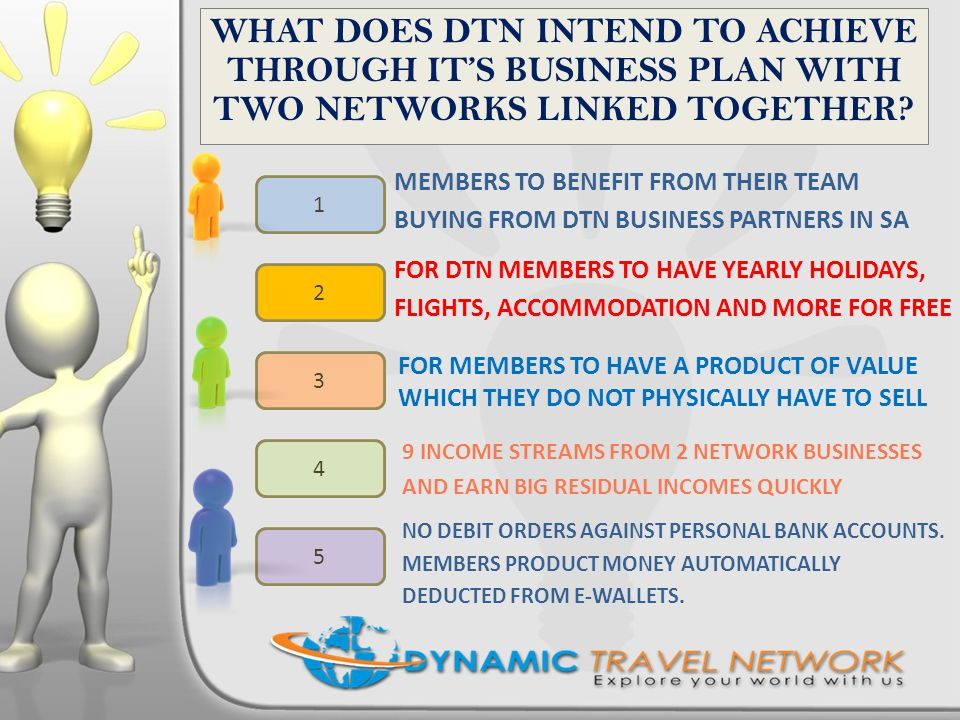 Travel Network: 6 Income Streams Monthly TRAVEL CREDITS (CASH) into DTN TRAVEL CARD Product Spot Commissions: R220 ONCE OFF per directs 1 st R300 product purchase Product Referral Commissions: Level Commissions Status Level Incentives: From 2000 active members 1 2 5 3 4 Club Bonuses: Club 50, 200, 500 and 1000 6 Annual Bonuses for Status Level Members Travel Network Product R300 pm.