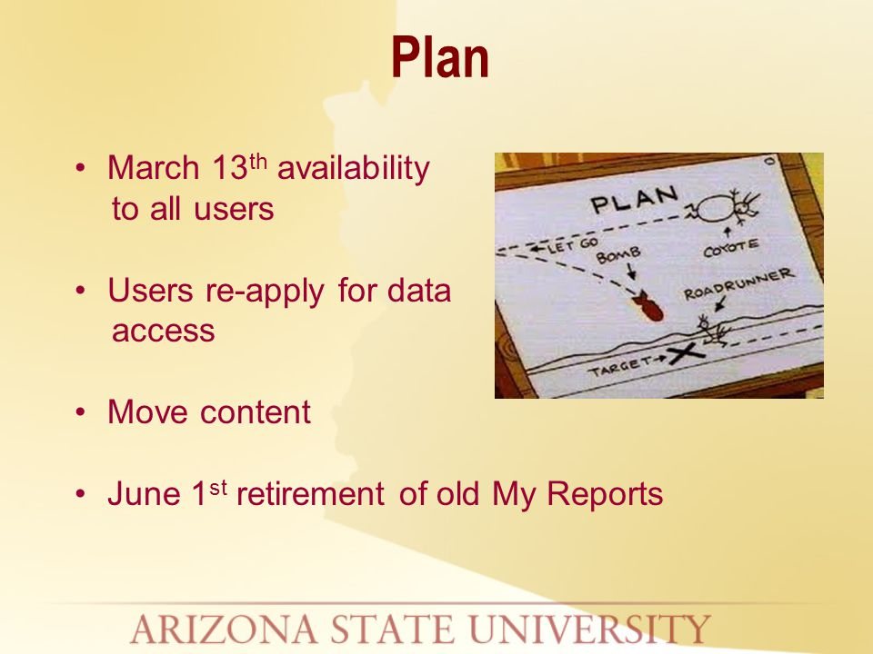 March 13 th availability to all users Users re-apply for data access Move content June 1 st retirement of old My Reports Plan