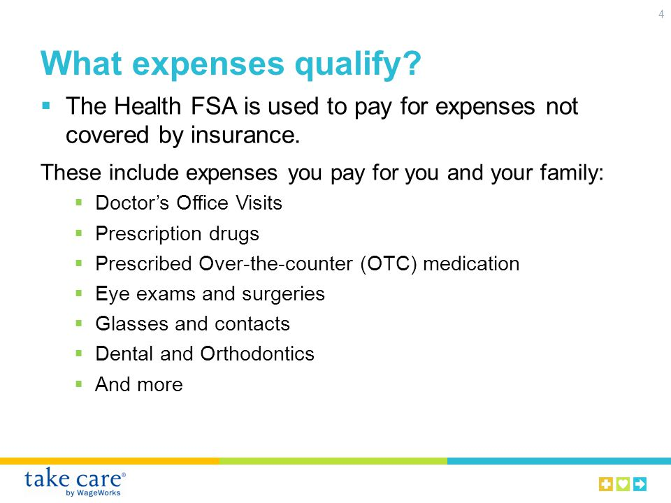 What expenses qualify.The Dependent Care FSA is used to pay for work- related day care expenses.