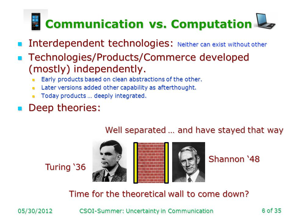 of 35 Communication vs. Computation Communication vs.