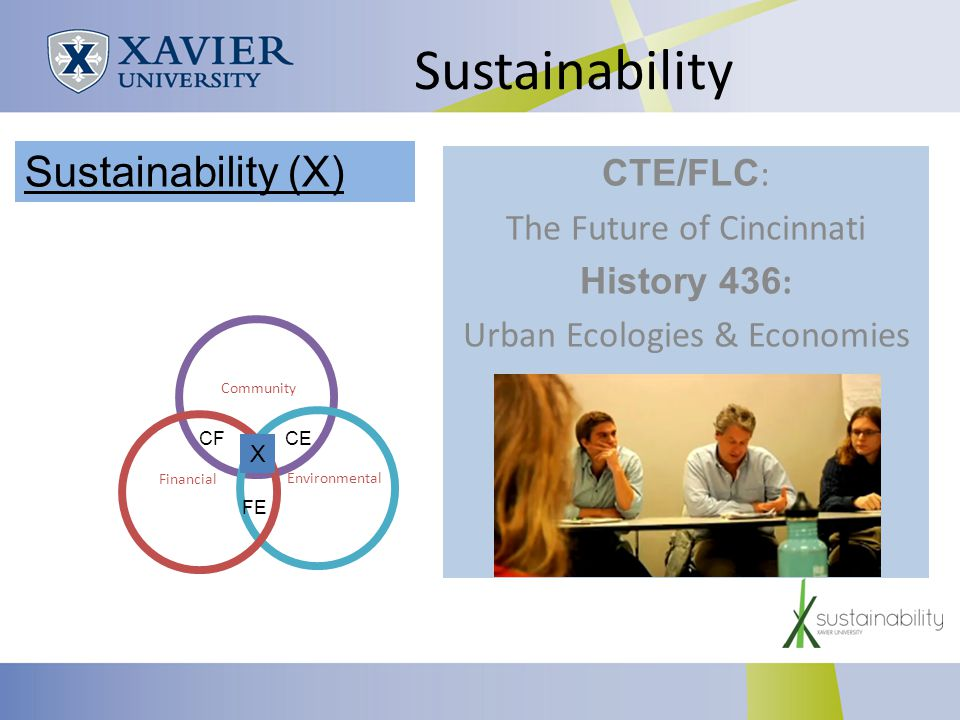Sustainability CTE/FLC : The Future of Cincinnati History 436 : Urban Ecologies & Economies Community Environmental Financial CECF FE X Sustainability (X)
