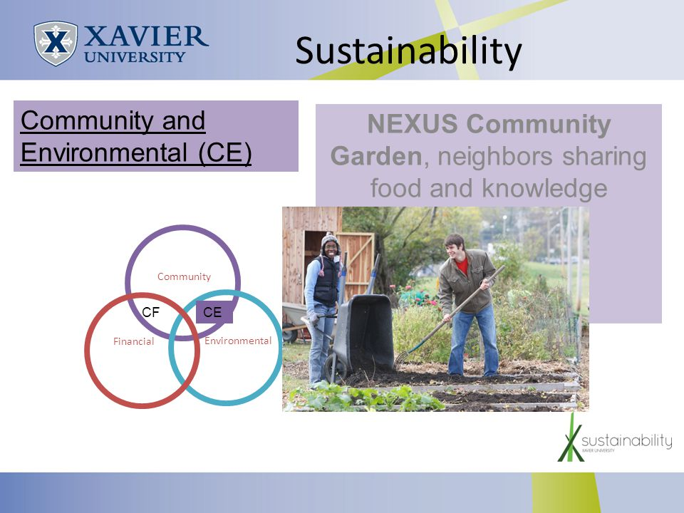 Sustainability NEXUS Community Garden, neighbors sharing food and knowledge Community Environmental Financial Community and Environmental (CE) CECF