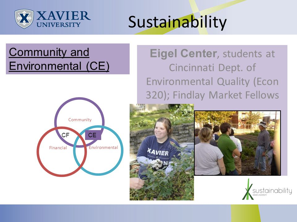 Sustainability Eigel Center, students at Cincinnati Dept.