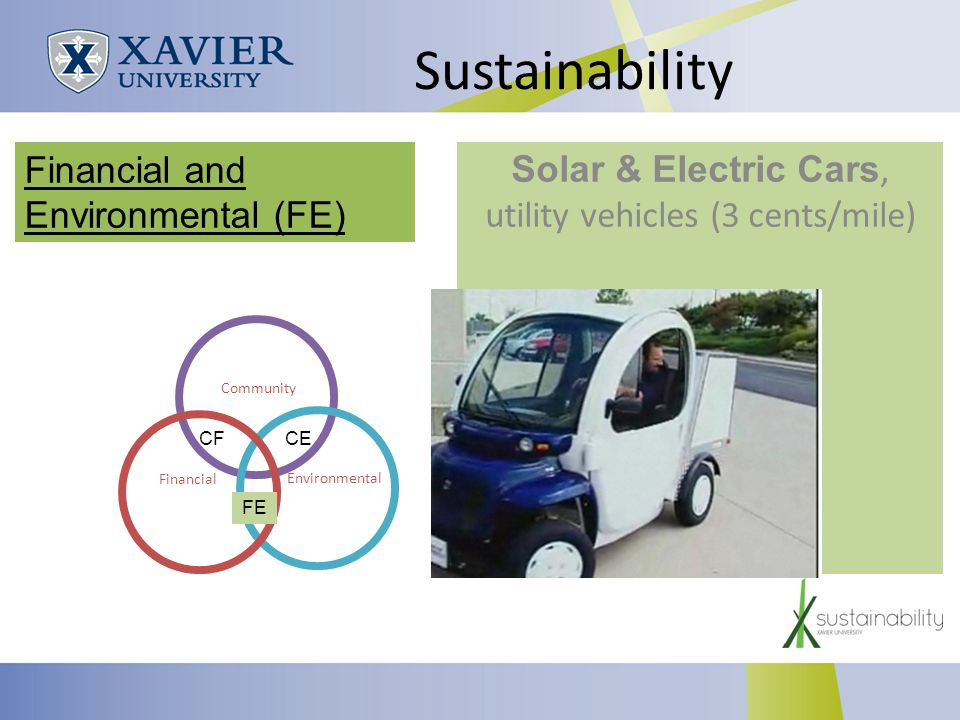 Sustainability Solar & Electric Cars, utility vehicles (3 cents/mile) Community Environmental Financial CECF FE Financial and Environmental (FE)