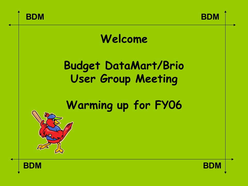 BDM Welcome Budget DataMart/Brio User Group Meeting Warming up for FY06