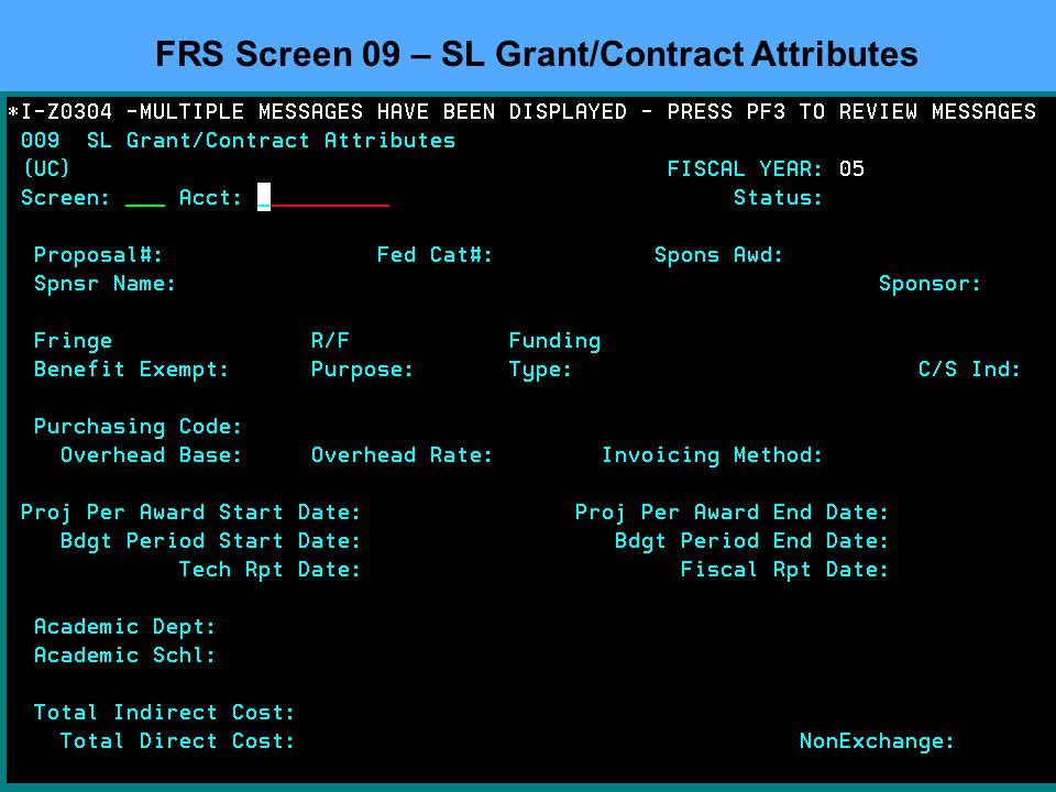 FRS Screen 09 – SL Grant/Contract Attributes