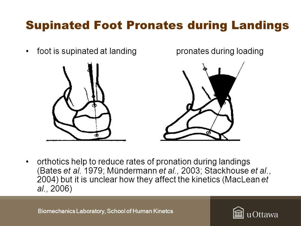 Biomechanics Laboratory, School of Human Kinetcs Supinated Foot Pronates during Landings foot is supinated at landingpronates during loading orthotics