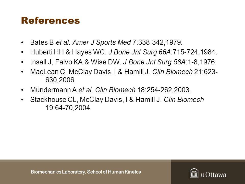 Biomechanics Laboratory, School of Human Kinetcs References Bates B et al. Amer J Sports Med 7:338-342,1979. Huberti HH & Hayes WC. J Bone Jnt Surg 66