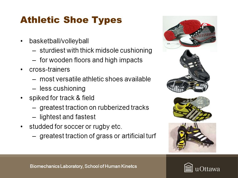 Biomechanics Laboratory, School of Human Kinetcs Athletic Shoe Types basketball/volleyball –sturdiest with thick midsole cushioning –for wooden floors