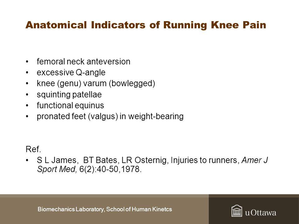 Biomechanics Laboratory, School of Human Kinetcs Anatomical Indicators of Running Knee Pain femoral neck anteversion excessive Q-angle knee (genu) var