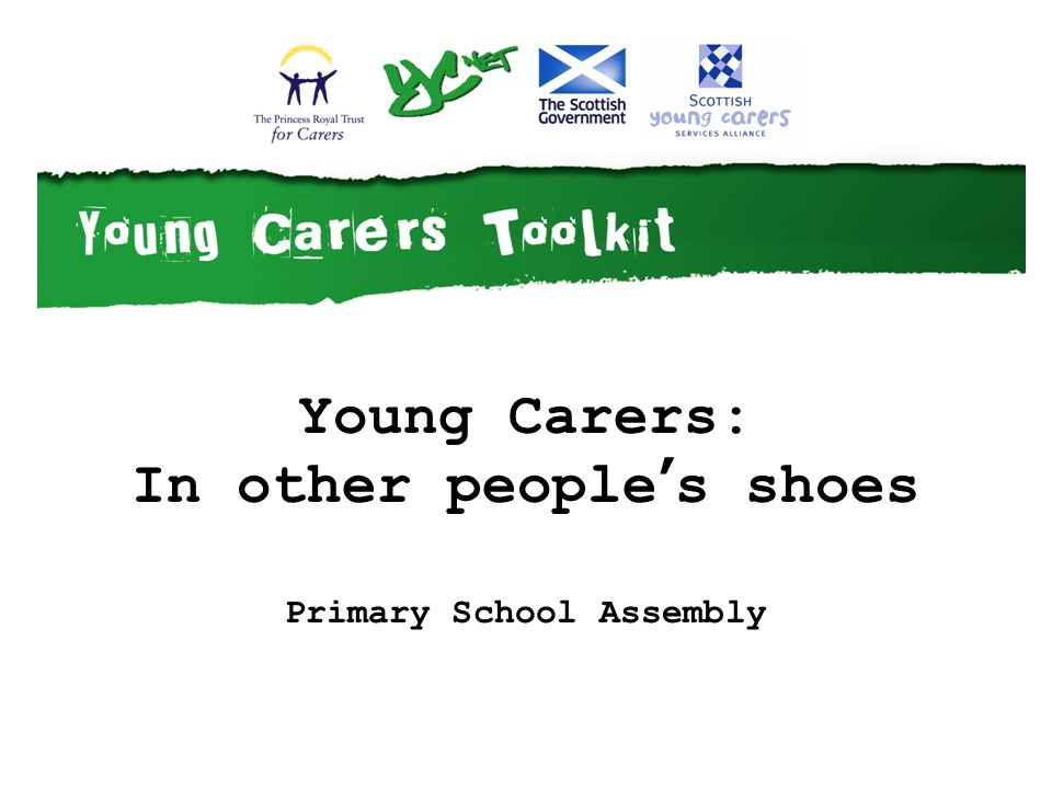 The owner of these shoes is a child about your age Young carers help their family with things like: getting up getting washed taking medicine or staying safe Someone in this childs family is disabled or ill for a long time.