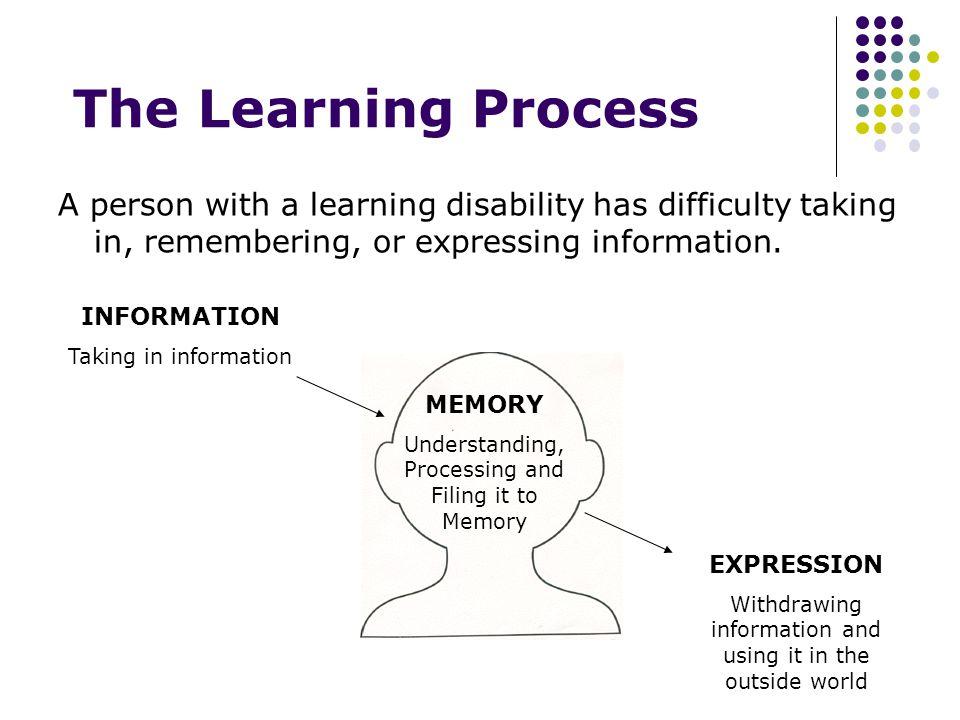 The Learning Process A person with a learning disability has difficulty taking in, remembering, or expressing information.