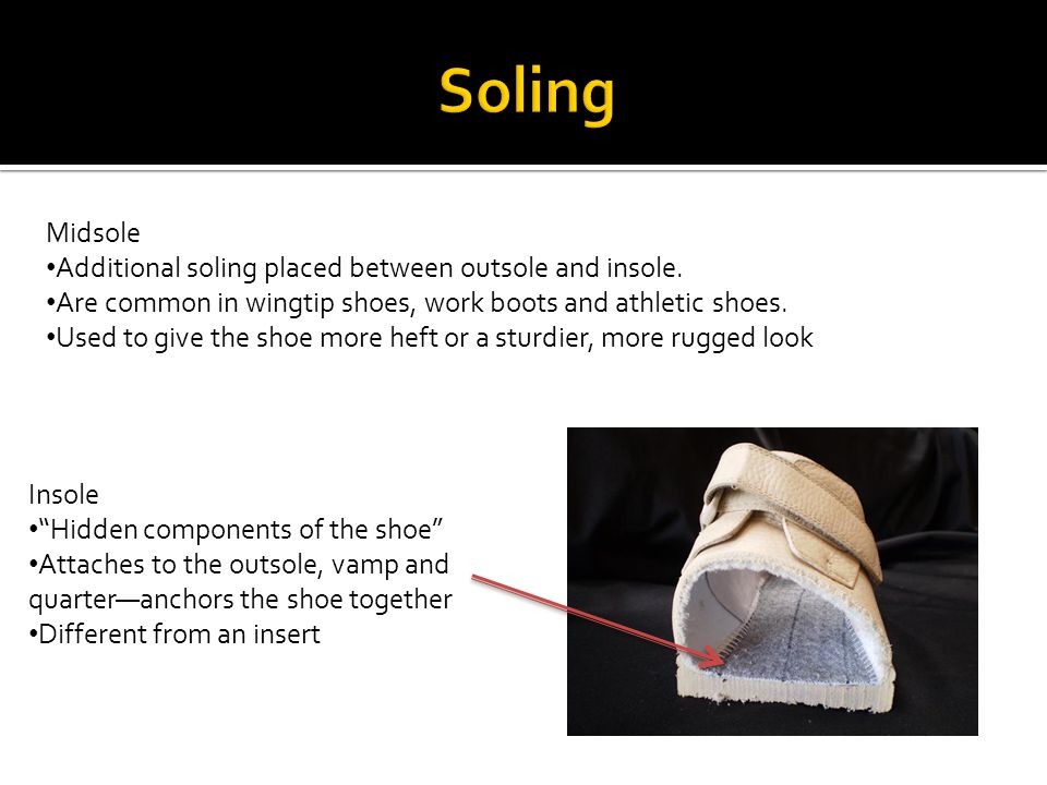 Midsole Additional soling placed between outsole and insole. Are common in wingtip shoes, work boots and athletic shoes. Used to give the shoe more he