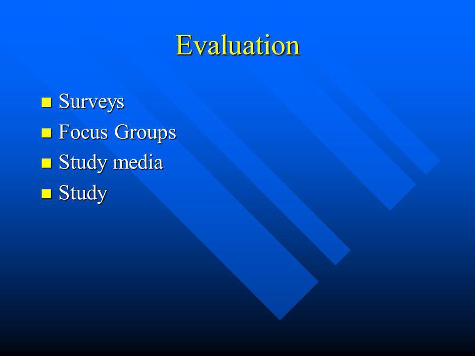 Evaluation Surveys Surveys Focus Groups Focus Groups Study media Study media Study Study