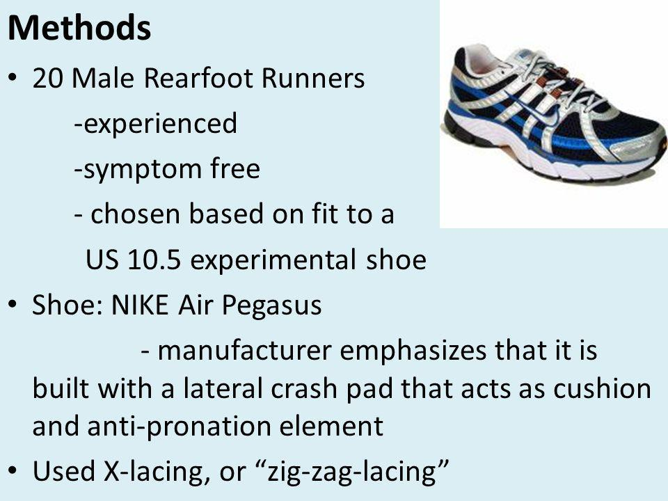 Methods 20 Male Rearfoot Runners -experienced -symptom free - chosen based on fit to a US 10.5 experimental shoe Shoe: NIKE Air Pegasus - manufacturer emphasizes that it is built with a lateral crash pad that acts as cushion and anti-pronation element Used X-lacing, or zig-zag-lacing