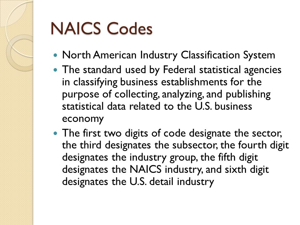 NAICS Codes Example NAICS CodesNameClassification Level 31-33ManufacturingSector 316 Leather and Allied Product Manufacturing Subsector 3162Footwear ManufacturingIndustry Group 31621Footwear ManufacturingIndustry 316211 Rubber and Plastics Footwear Manufacturing U.S.