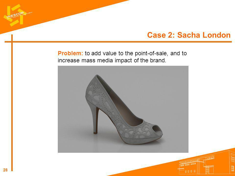 28 Case 2: Sacha London Problem: to add value to the point-of-sale, and to increase mass media impact of the brand.