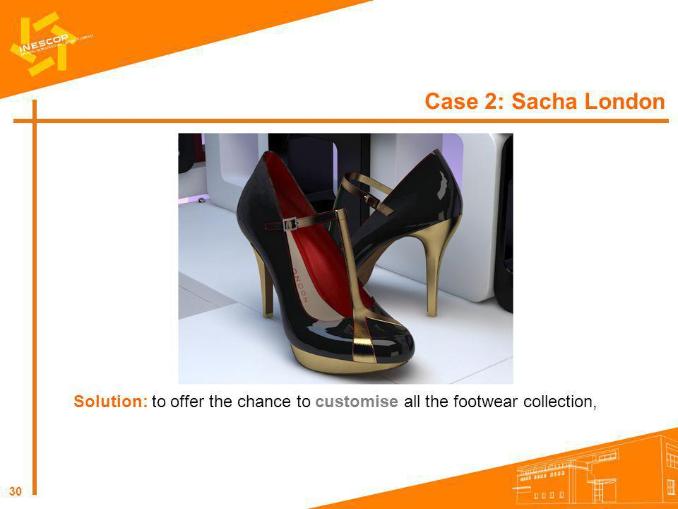 30 Case 2: Sacha London Solution: to offer the chance to customise all the footwear collection,