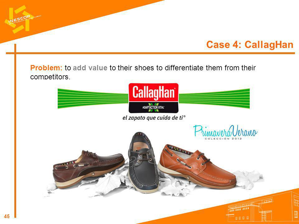 45 Case 4: CallagHan Problem: to add value to their shoes to differentiate them from their competitors.