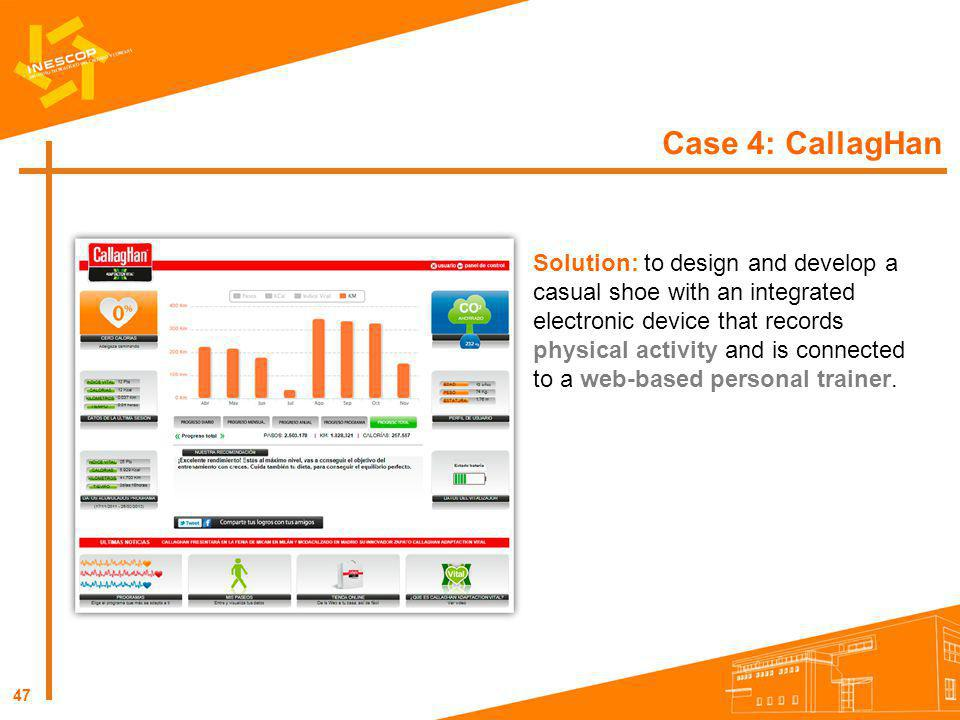 47 Case 4: CallagHan Solution: to design and develop a casual shoe with an integrated electronic device that records physical activity and is connecte