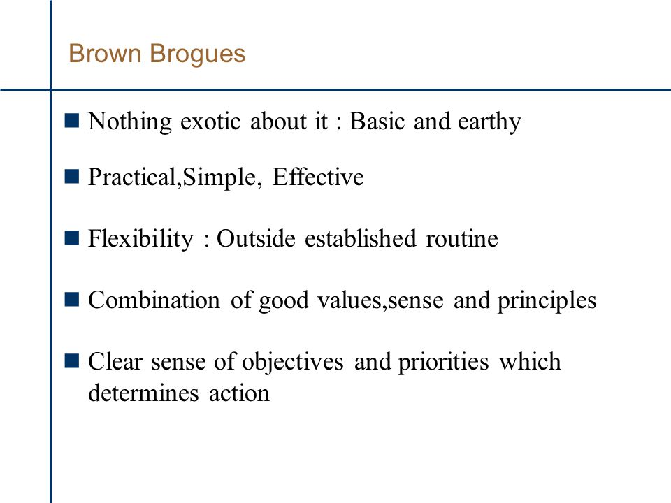 Brown Brogues n Nothing exotic about it : Basic and earthy n Practical,Simple, Effective n Flexibility : Outside established routine n Combination of good values,sense and principles n Clear sense of objectives and priorities which determines action