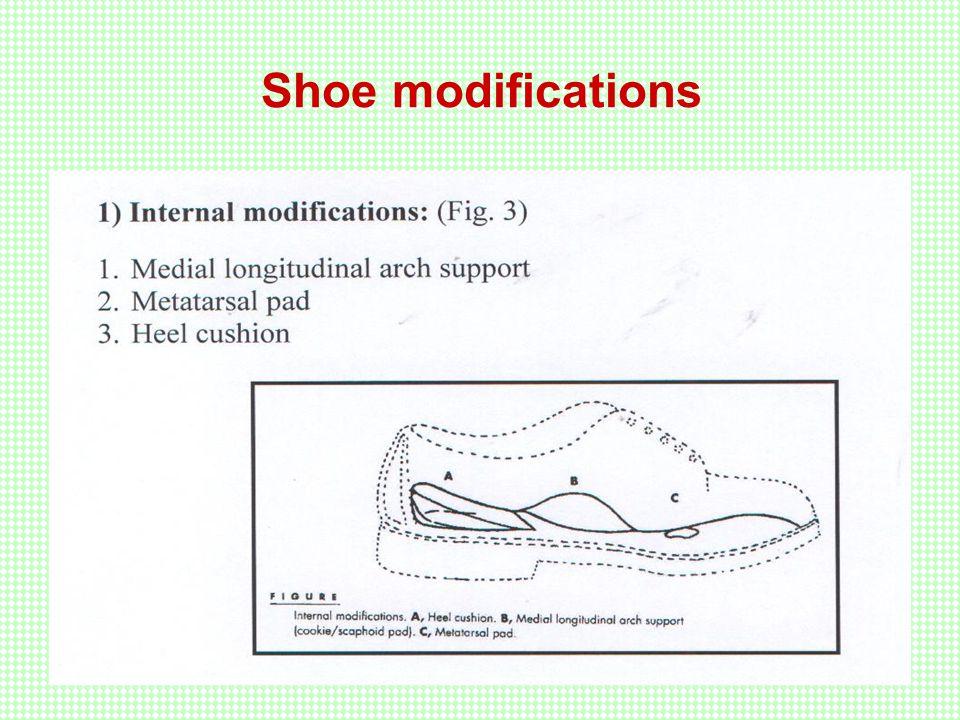 External modifications Heel corrections: Medial heel wedge Lateral heel wedge Thomas heel Reversed Thomas heel Heel flars.