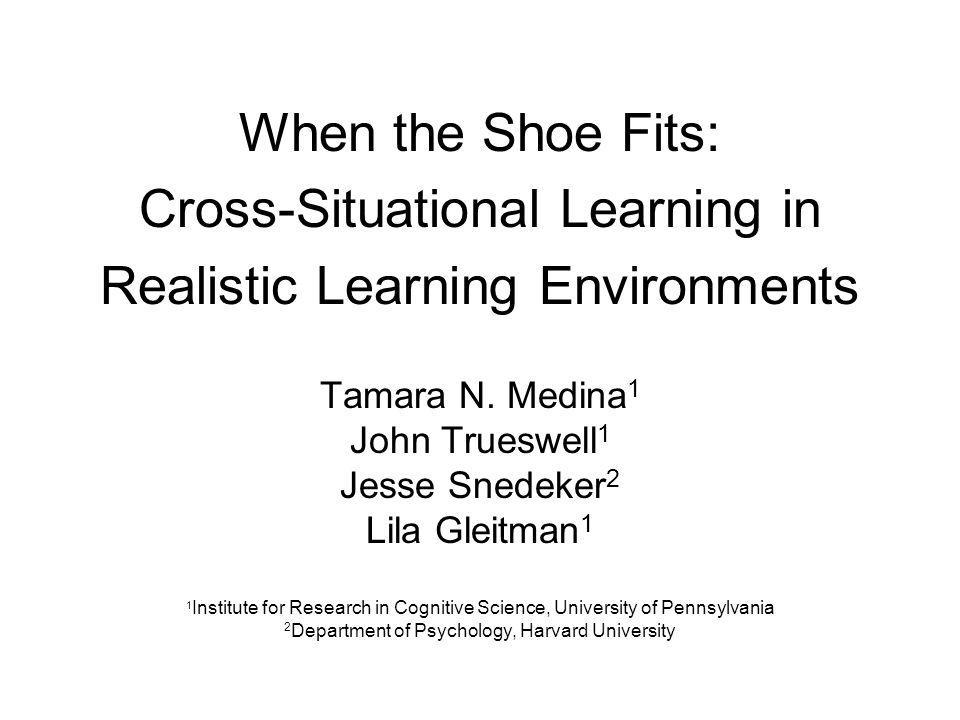 When the Shoe Fits: Cross-Situational Learning in Realistic Learning Environments Tamara N.