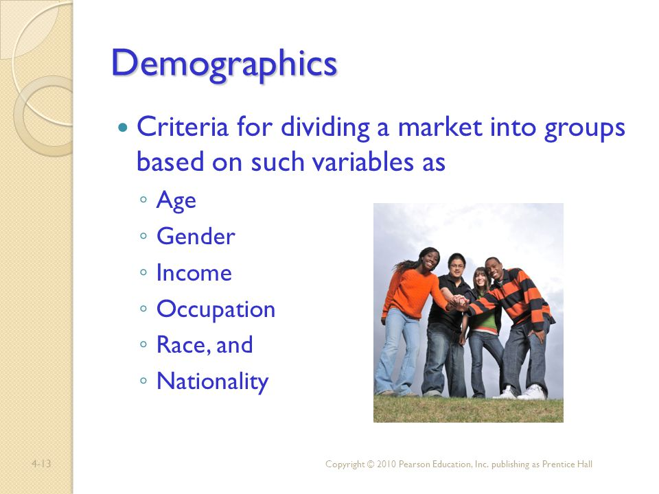 4-13 Demographics Criteria for dividing a market into groups based on such variables as Age Gender Income Occupation Race, and Nationality Copyright ©