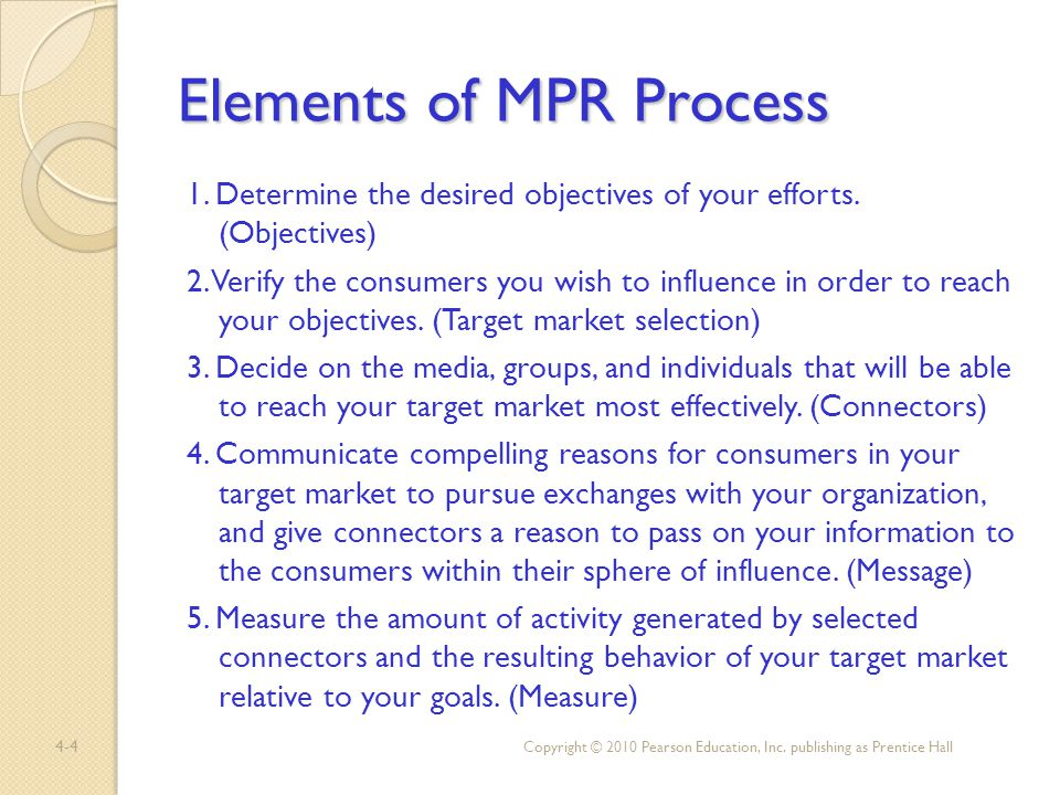 4-4 Elements of MPR Process 1. Determine the desired objectives of your efforts. (Objectives) 2. Verify the consumers you wish to influence in order t