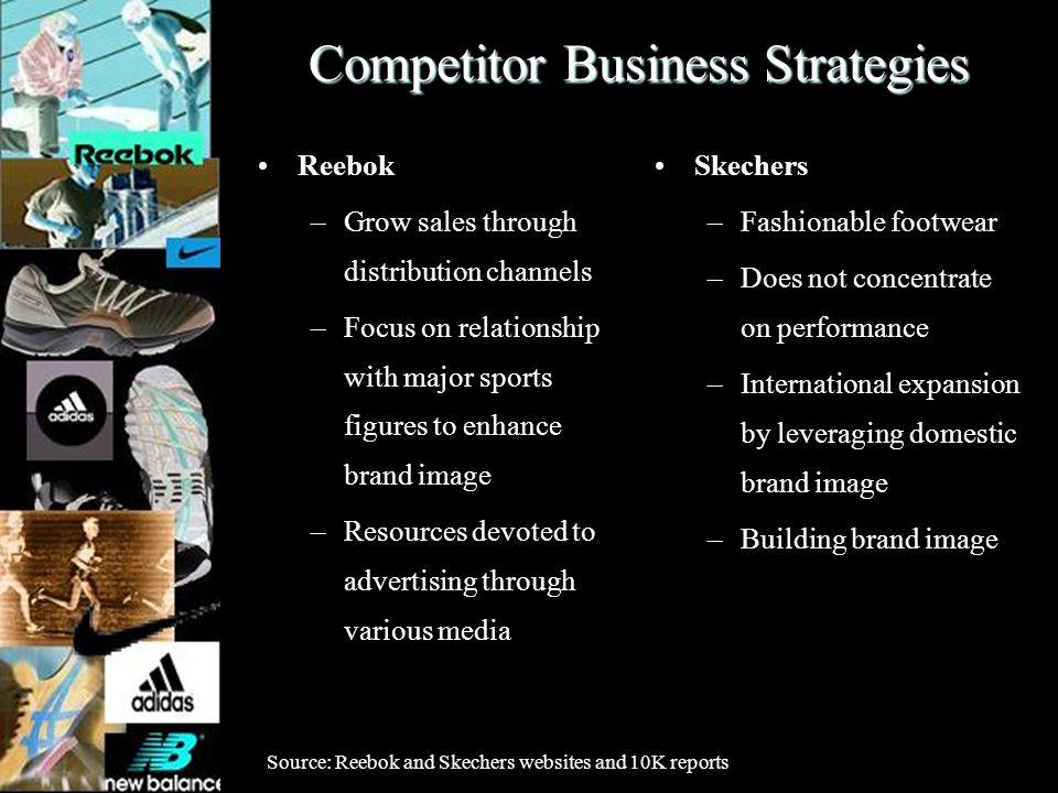 Competitor Business Strategies Reebok –Grow sales through distribution channels –Focus on relationship with major sports figures to enhance brand imag