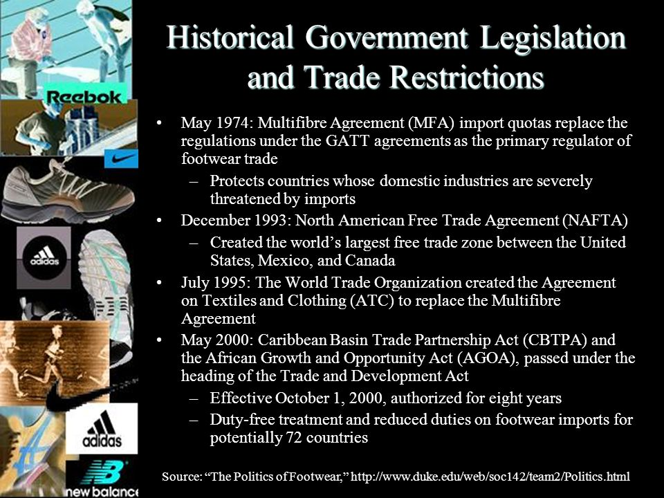 Historical Government Legislation and Trade Restrictions May 1974: Multifibre Agreement (MFA) import quotas replace the regulations under the GATT agr